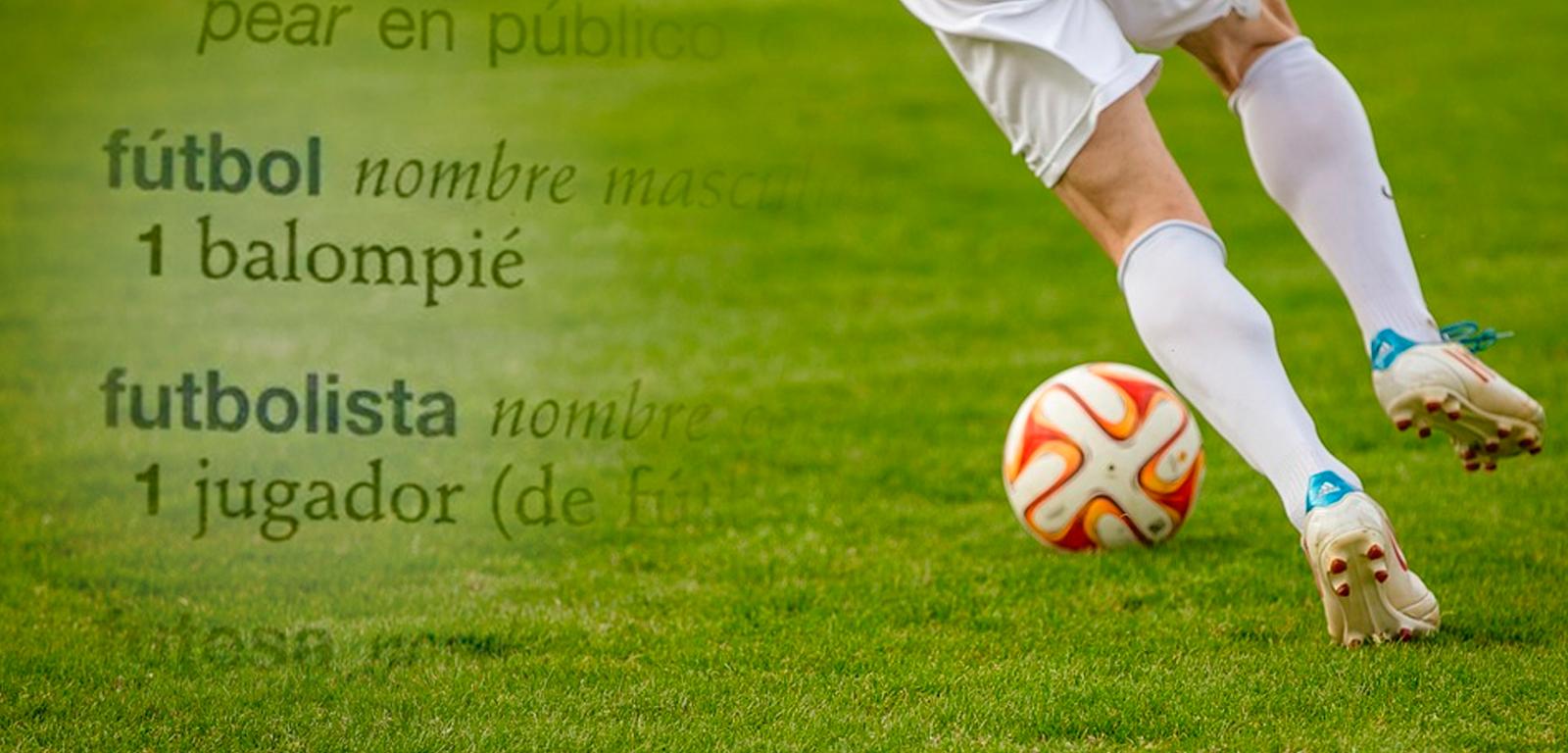 Un jugador de fútbol y los sinónimos de fútbol y futbolista / FOTOMONTAJE DE PDF
