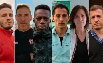 Saúl Ñíguez, Eduardo Berizzo, Iñaki Williams, Andrés Guadado, Amaia Gorostiza y Kike Cárcel
