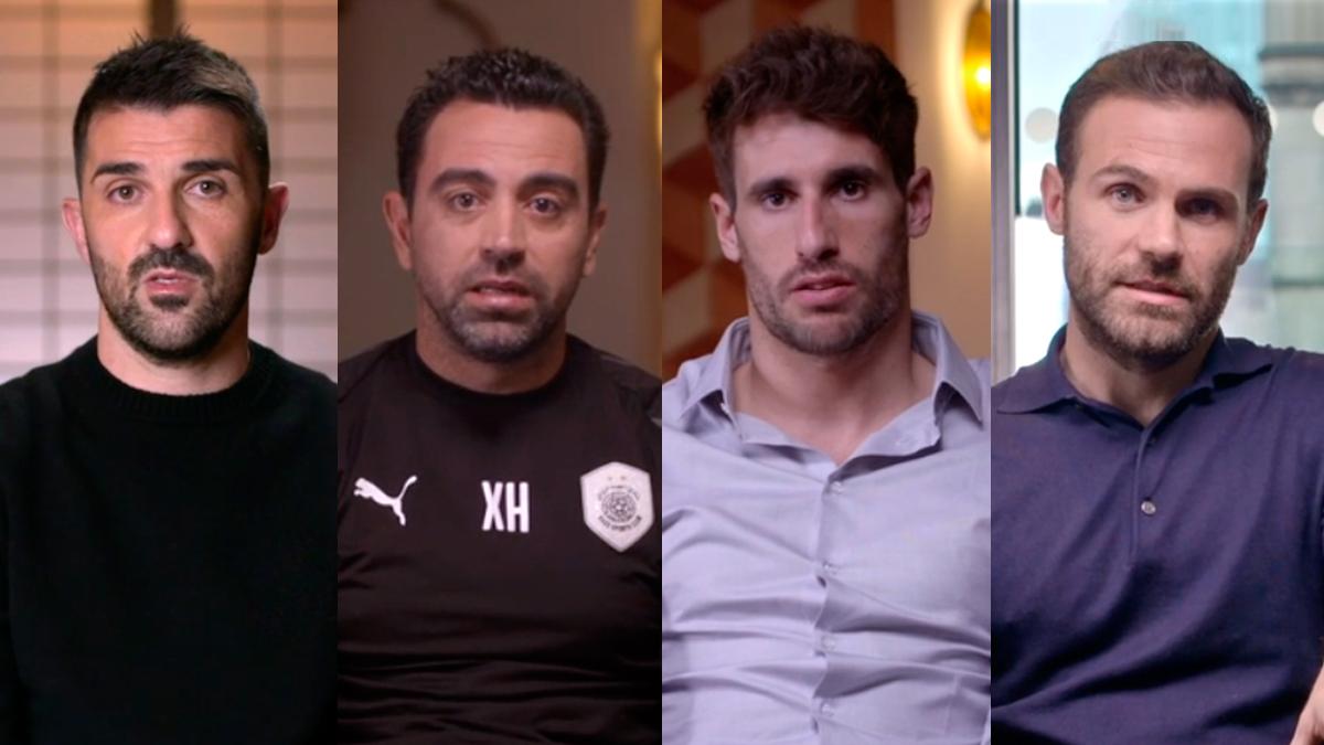 De izquierda a derecha: David Villa, Xavi Hernández, Javi Martínez y Juan Mata / 'FUTBOLISTAS POR EL MUNDO'
