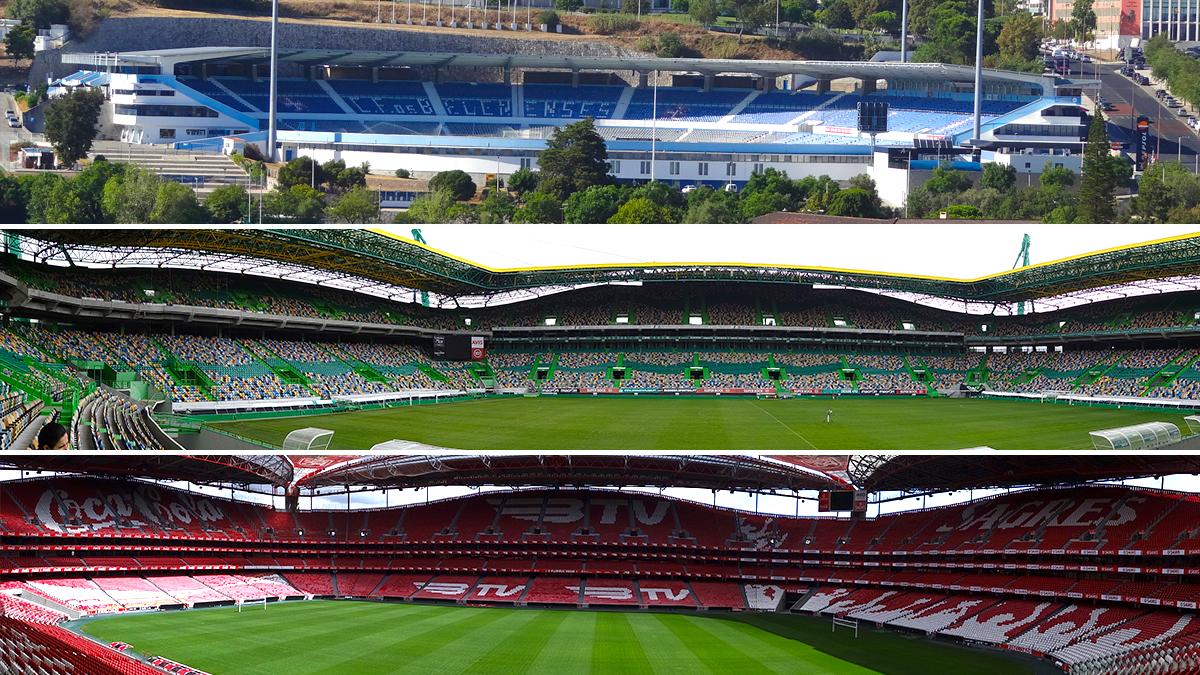 De arriba abajo: Estadio del Restelo, de Os Belenenses; Estadio José Alvalade, del Sporting de Portugal; y Estadio da Luz, del Benfica / FOTOMONTAJE DE PdF