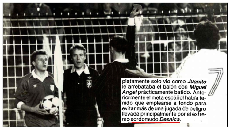 El futbolista sordomudo Damir Desnica, expulsado por protestar en el Bernabéu