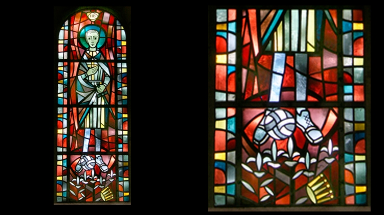 San Luis con un balón en los pies en la iglesia St. Joseph, Gelsenkirchen / GLASMARELEI
