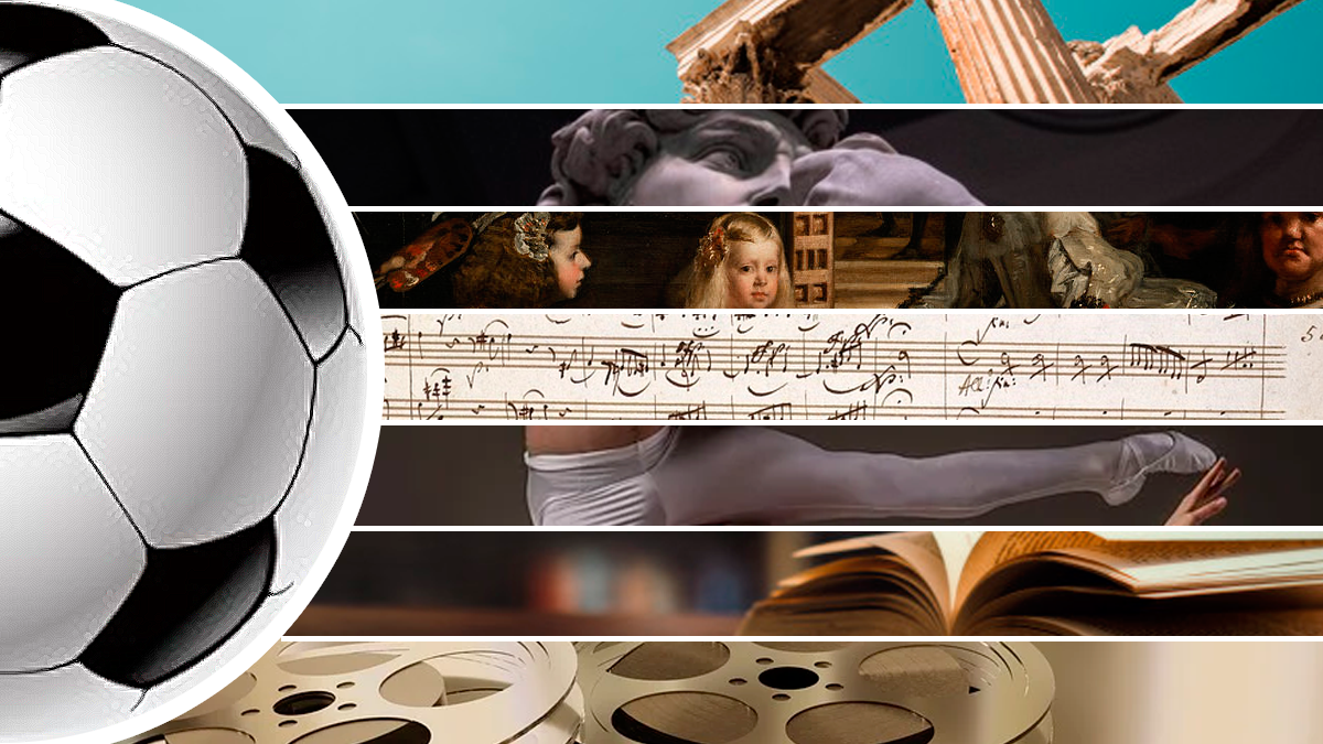 Las siete artes clásicas y el fútbol / FOTOMONTAJE DE PdF