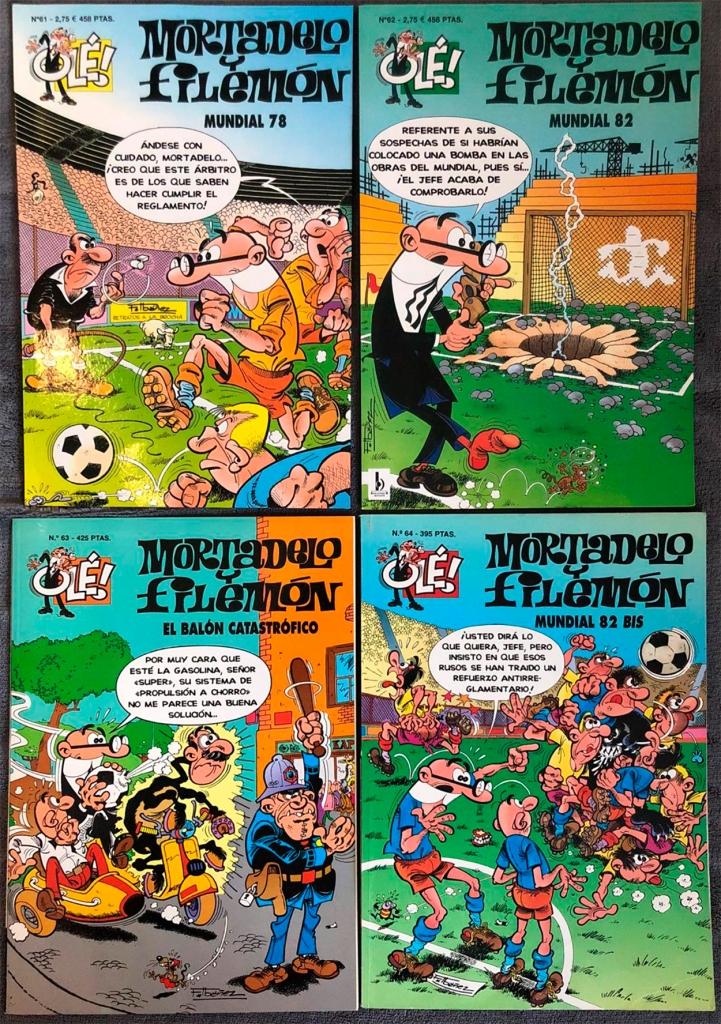 Mortadelo y Filemón en 'Mundial 78', 'Mundial 82', 'El balón catastrófico' y 'Mundial 82 bis' / PdF