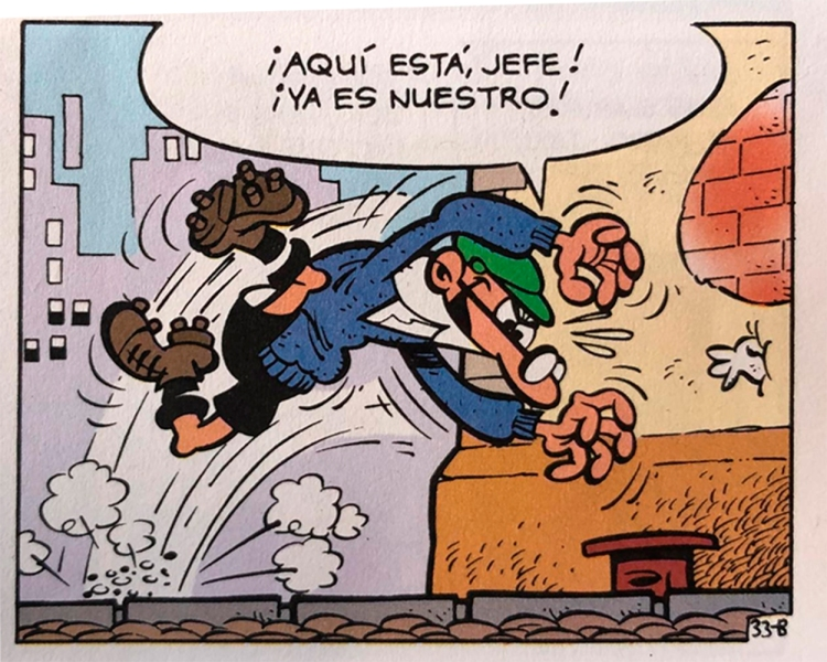 Mortadelo, con su disfraz de portero de fútbol en 'Armas con bicho' / PdF