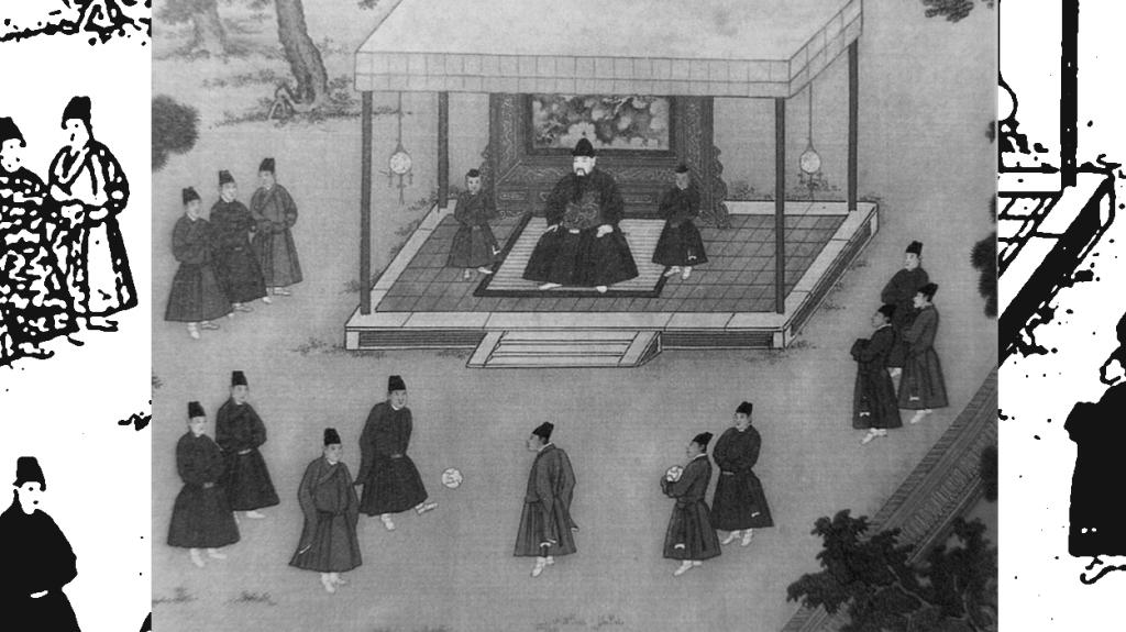 El emperador observa una escena de 'cuju'