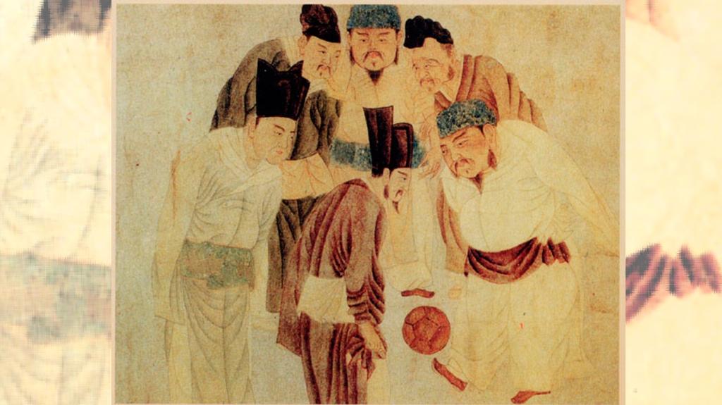 El emperador y el primer ministro juegan al 'cuju'