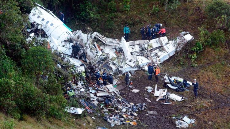 Los restos del avión del Chapecoense