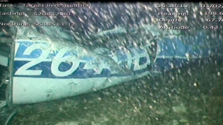 Los restos de la avioneta en la que viajaba Emiliano Sala