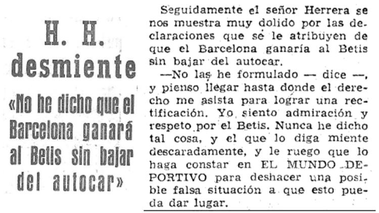 Helenio Herrera desmiente que dijera que el Barcelona ganaría al Betis sin bajar del autocar / 'EL MUNDO DEPORTIVO'