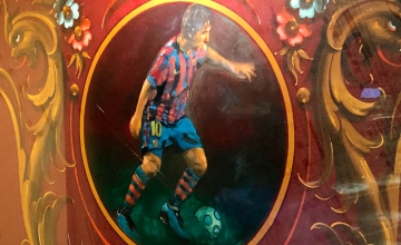 Leo Messi, pintado en el interior de La pizza del Born, en Barcelona / PdF